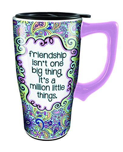 Spoontiques 12788 Friendship Ceramic Travel Mug, Multicolor