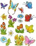 16 tlg. Set: Fensterbilder - Schmetterlinge & Blumen - statisch haftend - Sticker Fenstersticker / z.B. für Fenster und Spiegel - Aufkleber selbstklebend wiederverwendbar - Fensterfolie Fensterdeko