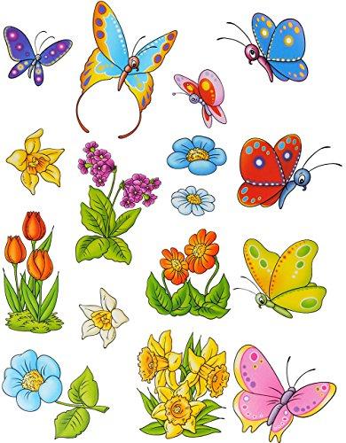7 tlg. Set: Fensterbilder - Schmetterlinge & Blumen - statisch haftend - Sticker Fenstersticker / z.B. für Fenster und Spiegel - Aufkleber selbstklebend wiederverwendbar - Fensterfolie Fensterdeko