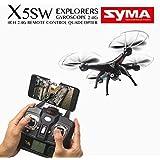 WayIn® Syma X5SW Exploradores cámara de 4 canales WiFi FPV RC Dron Quadcopter UFO RTF Negro