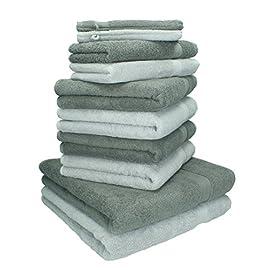 Dreamscene Morbido Asciugamano in 10/Pezzi Cofanetto da Bagno 100/% Cotone Egiziano Antracite