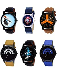 NIKOLA Modish 3D Design Mahadev Captain America Black Blue And Brown Color 6 Watch Combo (B22-B43-B16-B49-B23-...
