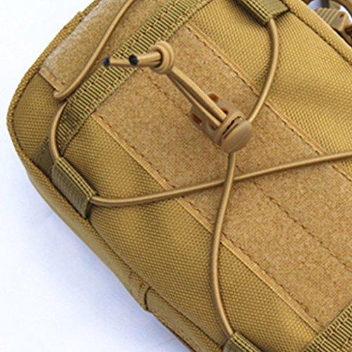 Gazechimp Taktische Molle Tasche Gürteltasche Hüfttasche Rucksack Zusatztasche Handy Werkzeug Beutel Outdoor Sport Beintasche Braun