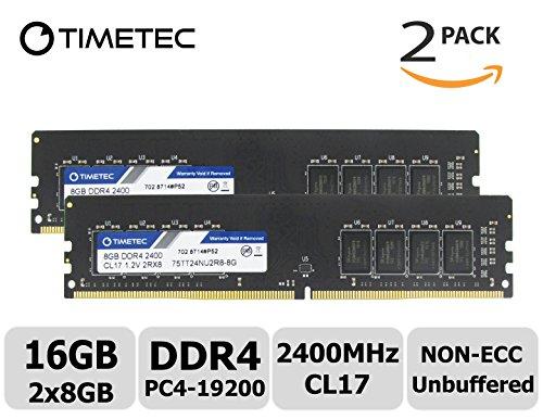 Timetec Hynix IC 16GB Kit (2x8GB) DDR4 2400MHz PC4-19200 Unbuffered Non-ECC 1.2V CL17 2Rx8 Dual Rank 288 Pin UDIMM Desktop Arbeitsspeicher Module Upgrade (16GB Kit (2x8GB)) (G1 Sniper 3)