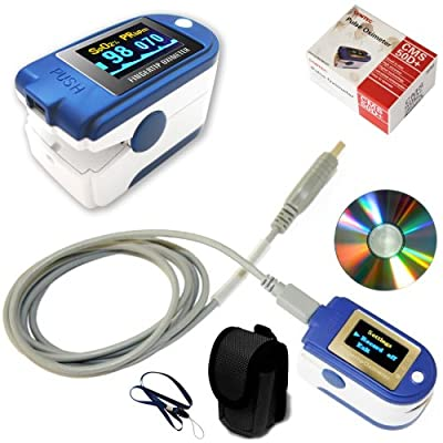 Contec CMS 50D+ OLED USB Finger Pulse Oximeter & Heart Rate Monitor w/ 24hr Memory, Lanyard, USB Cable, Carry Case & Full Analysis Software