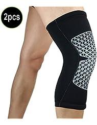 Lzndeal Rodillera de 2 piezas de gimnasio deportivo rodilla pierna Patella artritis apoyo brazalete guardia estabilizador correa envoltura baloncesto fútbol seguridad rodilla