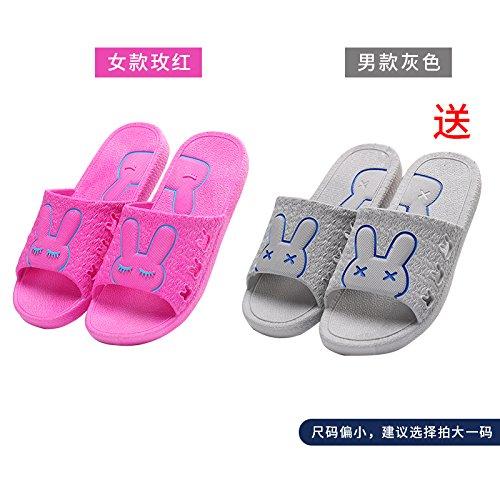 DogHaccd pantofole,Il bagno pantofole donne indoor estate anti-slip da bagno soggiorno di casa con un paio di pantofole fresca estate maschio Il grigio rosso3