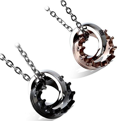 Cupimatch 2pezzi collana amante uomo donna acciaio inossidabile love couple matching cz anelli corona ciondolo regalo di san valentino con catena 45cm e 55cm
