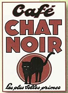 PLAQUE METAL 20x15 PUBLICITE ANCIENNE CAFE CHAT NOIR