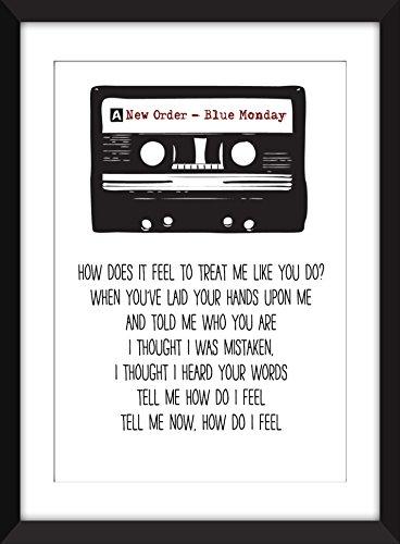 New Order Blue Monday Lyrics Unframed Print / Ungerahmter Druck