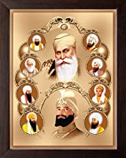 Art n Store All Ten Sikh Gurus Unique Painting, HD Printed Religious & Decor Picture with Plane Brown Fram