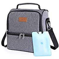 Lifewit Insulated Lunch Box Lunch Bag for Adults/Men/Women/Kids, Water-Resistant Leakproof Cooler Bento Bag for Work/School/Picnic, Dual Compartment, 7L, Grey