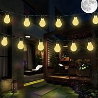 Solar Bombilla Luces de cadena, DINOWIN Impermeable 11.5ft 10LED bombillas Fairy String luces para interior / al aire libre, perfecto para el patio, café, jardín, boda, decoración del partido (Blanco cálido)