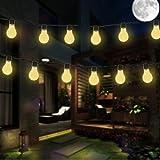Birne Lichterketten, EONHUAYU 3.5M 10 LED Solar-Lampen-Schnur Beleuchtet Wasserdicht mit 2 Modi, die für im Freien, Garten, Weihnachtsdekorationen Warmes Weißes Licht Beleuchten