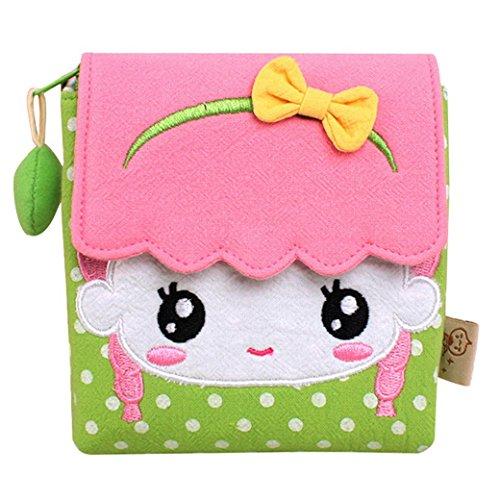 Happy Cherry Sac Fille Femme Mignon Etudiante en Coton pour Tampon hygiénique Sac de Rangement Fermeture Eclair Scolaire Travail Argent de Poche Porte Monnaie Velcro Vert