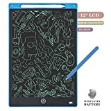 MLM Tablette d'écriture LCD Tablette à Dessin Tablette Ewriter pour Enfants Cadeaux de Noël/Nouvel an Digital Drawing Board Plus Brillante (Police de Verrouillage) (12 Pouces Bleu)