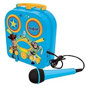 Lexibook Disney Toy Story 4-Mi maletín musical con bluetooth, función karaoke con micrófono incluido, toma aux-in, puerto USB, batería recargable-BTC050TS, color azul