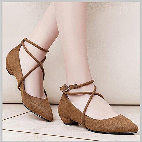 KHSKX-Couleur Camel 2.5Cm Bracelet Croix Avec Un Bold Nouvelles Chaussures Femmes Talon Haut Bout Version De La Femme Coréenne Marée Chaussures 36