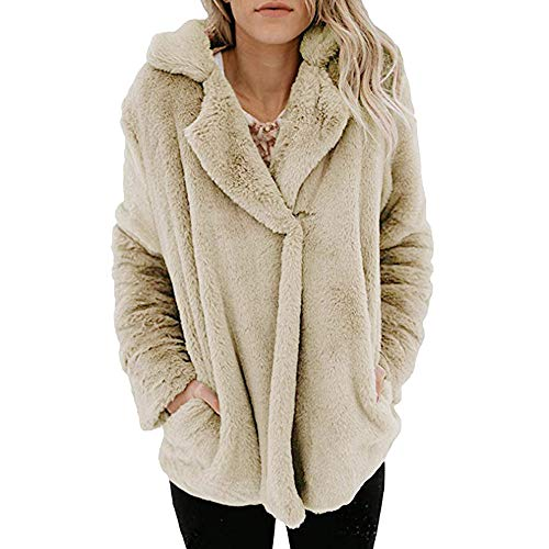 xinhai7682 Damen Wintermantel, Frauen Teddy nFleece Mantel Warme Verdickte Flauschige Mantel Fleece Jacke Einfarbig Beiläufig Oberbekleidung Pocket Trenchcoat Parka Tops