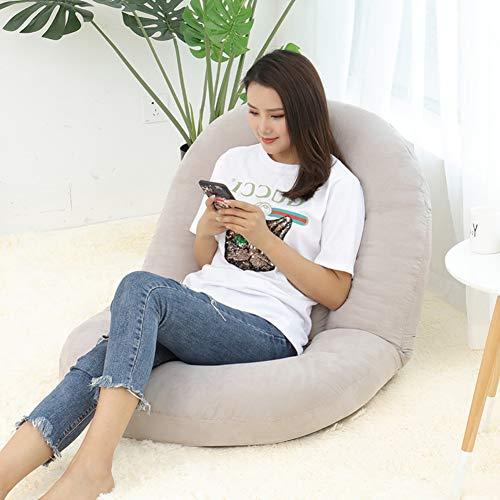 DULPLAY Pluch Stock-Stuhl gepolstert, Mit verstellbare rückenlehne Gemütlich Semi-faltbar Vielseitige Für die Meditation, Seminare Lesen Spiele-Hellgrau 83x63x67cm(33x25x26inch)