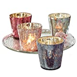 Loberon Windlicht 4er Set Jil, Dekoration, Wohn-Accessoires, Glas, H/Ø ca. 10/10 cm, bunt