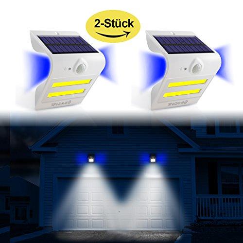 Solarleuchten mit Bewegungsmelder außen 2 Stück,32 LED + 3 Ambiente-LED(Gegenlicht) Super Helle Solar Wandleuchten /Sicherheitslicht für Garten,Patio,Terasse,Treppen,Garage,Balkon, Wasserdichte