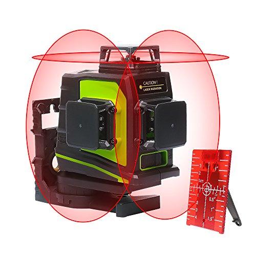 Huepar GF360R 3 x 360 Kreuzlinienlaser Rot, 360 Grad Linienlaser Selbstnivellierenden Laser Level mit Pulsfunktion, 20m Arbeitsbereich, USB-Ladeanschluss, inkl. Lithiumbatterie Magnethalterung
