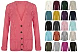 Red Olives New Women's Ladies Long Sleeve Button Top Chunky Aran Cable Knitted Grandad Cardigan UK 8-26