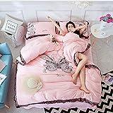 LCTCCT Juego de Funda nórdica de algodón de poliéster cómodo y Suave de Lujo Juego de Ropa de Cama de Princesa teñida Lisa de Cuatro (Color : Pink, Tamaño : 1.5m Bed Four-Piece)