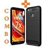 Honor 7X, Back Cover, Tempered Glass, Premium Real Perfect Fit (Combo Black Silicon) 360 Degree Full Body Protection Hybrid Case Cover For Huawei Honor 7X