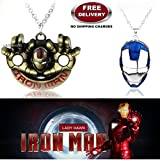 (2 Pcs AVENGER SET) - IRONMAN HANDS (GOLD) & IRON MAN HELMET (BLUE/SILVER) IMPORTED PENDANTS WITH CHAIN. LADY HAWK DESIGNER SERIES 2018. ❤ ALSO CHECK FOR LATEST ARRIVALS - NOW ON SALE IN AMAZON - RINGS - KEYCHAINS - NECKLACE - BRACELET & T