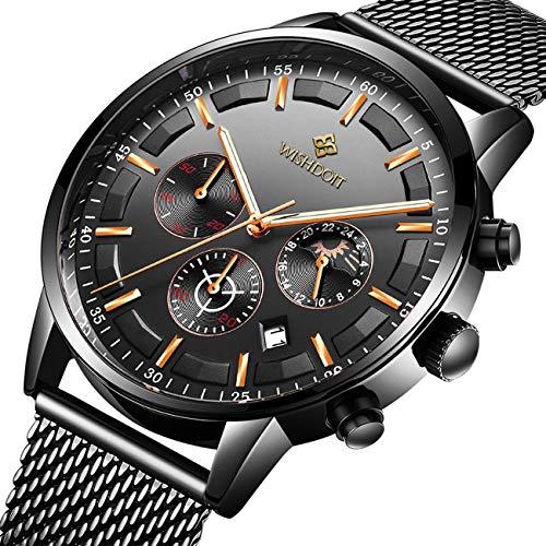 n Mode Wasserdichte Chronograph Quarz Uhr für Mann Top-Marke Business Kleid mit Schwarzem Edelstahlgewebe Casual Uhr ()