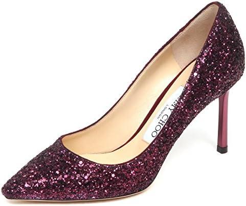 E6558 Decollete Donna Wine Glitter Jimmy CHOO Romy Scarpe Shoe Woman