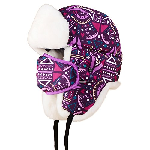 Women Warm Nylon Russian Style Winter Bomber Caps Ear Flap Ski Snow Hat