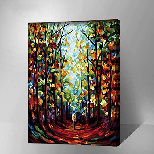 Malen nach Zahlen Kits Leinwand montiert auf Holz Rahmen mit Pinsel und Farben Anfänger Niveau Acrylfarben-Set auf Leinwand (Holz-rahmen Montiert)