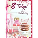 "Age 8 Girl Birthday Card - Pink Strawberry Cake, Presents & Bunting 7.5"" x 5.25"""