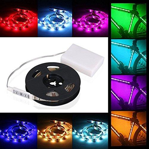 cuzile Barre 50 cm Stripe Lumière RGB Multicolore avec batterie Box Piles + Mini Contrôleur pour armoire de cuisine Luminaire d'intérieur encastrable avec bandes LED Strip