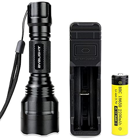 BYBLIGHT 900 Lumens CREE Torch Flashlight, Rechargeable Battery and 5 Light Modes C8 LED Torch, Waterproof Tactical Torch for Hiking Camping Use (Include 18650 Powerful Li-ion Battery, AC Charger)