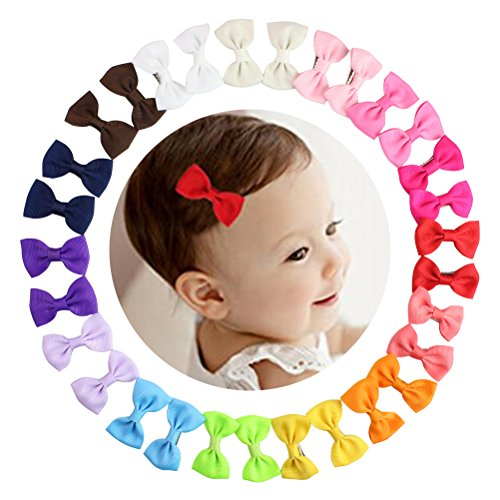 HABI 30 stk Haarschleifen mehrfarbig Haarclips Haarklammern Haarspange Haar Accessoire für Mädchen Baby aus Ripsband und Metall (Für Mädchen Neue Accessoires)