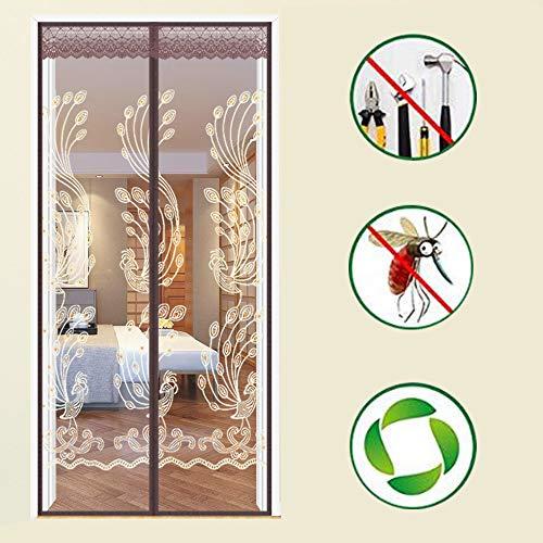 Stickerei Fliegengitter Tür,verstärktes Fiberglas Mesh-vorhang Vollbild Velcro Bildschirmtür Für Türöffnung -j 95x210cm(37x83inch) (Schnelle Stickerei Frames)