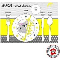 Conjunto de mesa educativa, juego de mesa para niños, tema koala, tonos amarillos y grises