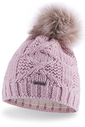 PaMaMi Slouch Beanie für Damen   Damenmütze 17545   warme Strickmütze mit Bommel Innenfleece  gestrickte Bommelmütze   Fellbommel Mütze für Winter   weiche Wintermütze   Farbenauswahl (Rosa)