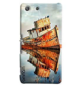 Omanm Small Ship Effect In Water Painted Designer Back Cover Case For Sony Xperia M5