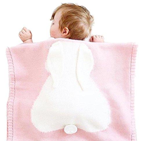 Covermason Babydecke Kinder Hase Strickdecke Spielen Decke Für 0-6 Alter Baby, 73 * 105cm (Rosa)