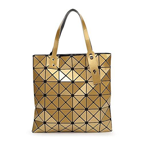 Tanling Sourcingmap Damen Geometrie Bao Tote Schimmernde Handtasche Laser Diamant Gitter Shopper Falttasche Schultertasche, Damen, Gold
