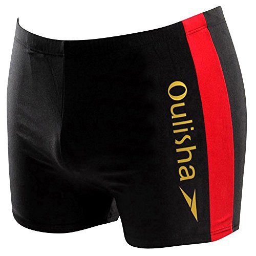 Moollyfox Hommes Angle Plat Maillots de bain Shorts Plus la Taille Noir Rouge