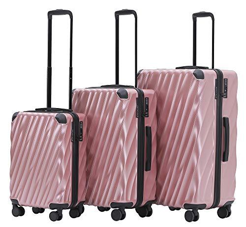 Münicase MÜNICASE TSA Schloß Handgepäck 4 Rollen Hartschalen-Koffer Trolley Rollkoffer Reisekoffer Koffer-Set (Rosagold, 3er Set)