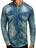 BOLF Jeanshemd Freizeit Jeans Hemd Herrenhemd Langarm Madmext 0895 Dunkelbau-Grau XL [2B2]