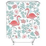 Qile 180 x 180cm Duschvorhang, Anti-Schimmel 100% Polyester Badewanne Duschvorhänge, 3D Effekt und Digitaldruck, Wasserdicht mit 12 weißen Haken (zwei Flamingos)