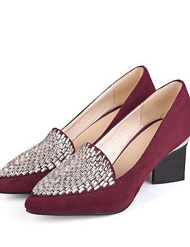 WSS 2016 Chaussures Femme-Habillé / Décontracté-Noir / Bleu / Bordeaux-Gros Talon-Talons-Talons-Similicuir black-us5.5 / eu36 / uk3.5 / cn35